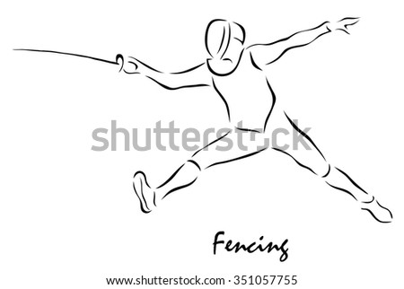 Vector illustration. Illustration shows a kind of sport. Fencing