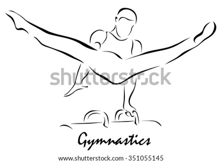 Vector illustration. Illustration shows a kind of sport. Gymnastics