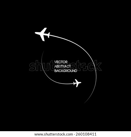 Vector illustration. Image two planes in motion . Black white background - stock vector