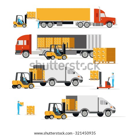 Vector illustration in a flat style icons cargo transportation goods by road trucks, loading and unloading of goods lift trucks, varieties forklifts - stock vector