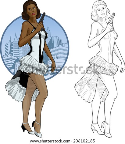 Vector illustration in action comics style afroamerican woman poses dressed in white and black retro dress with a gun - stock vector