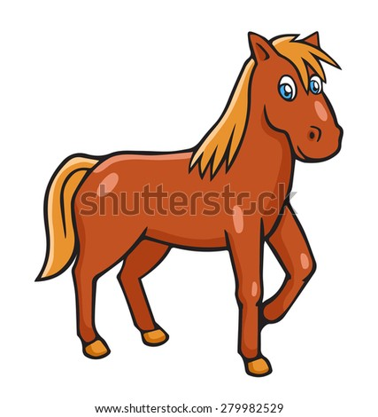 Vector illustration in cartoon style isolated on white. Horse.