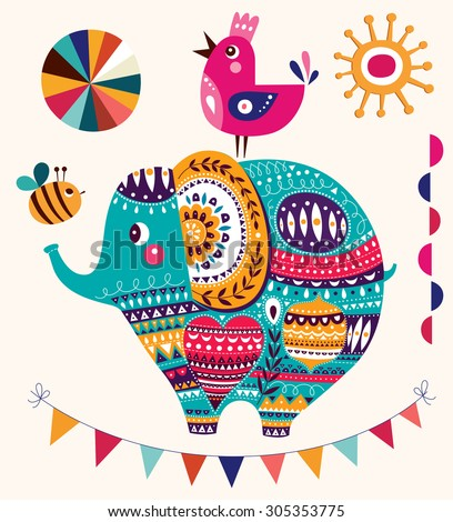Vector illustration in cartoon style. Lovely cute Elephant. Baby birth card with Elephant - stock vector