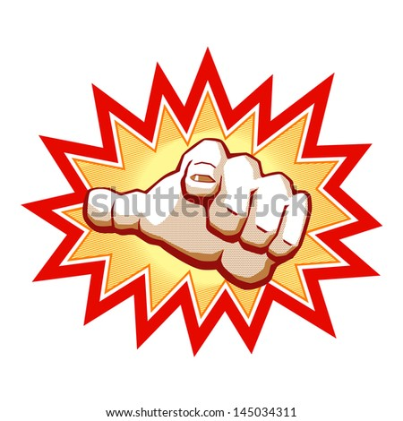 Vector illustration in comics style of hand with pointing finger. You can use this illustration for any of printed materials (placard, flyers, posters etc.) or as element of interactive graphic.