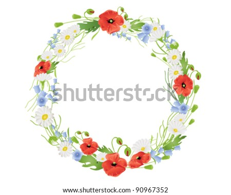 vector illustration in eps 10 format of a circular wreath of wildflowers with poppies daisies and harebells with lots of copy space - stock vector