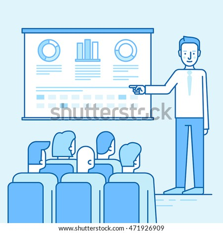Vector illustration in flat linear style and blue colors - business conference and team training seminar - male speaker and the projection screen with information and sales statistics