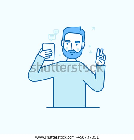 Vector illustration in flat linear style and blue colors - man making selfie using his mobile phone or recording video or chatting with his friends online - internet or video blog concept