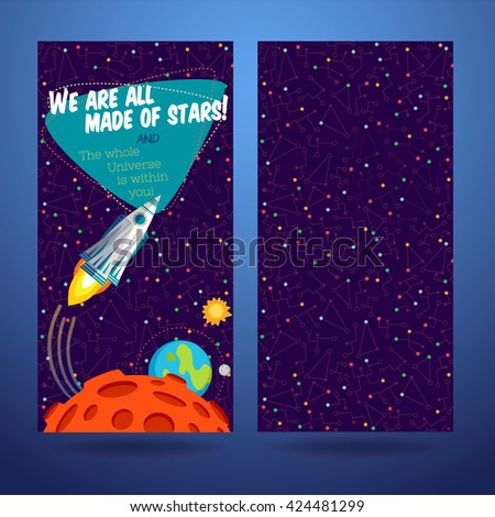 Vector illustration in flat style about outer space. Planets in the universe. Greeting card