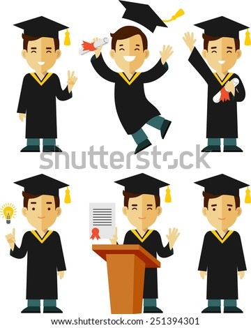 Vector illustration in flat style of young graduate student character - stock vector