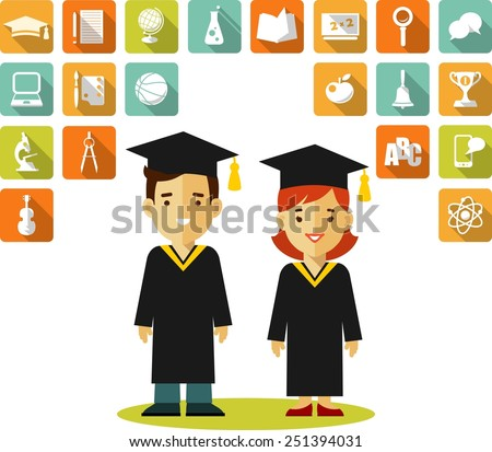 Vector illustration in flat style of young graduates and education icons - stock vector