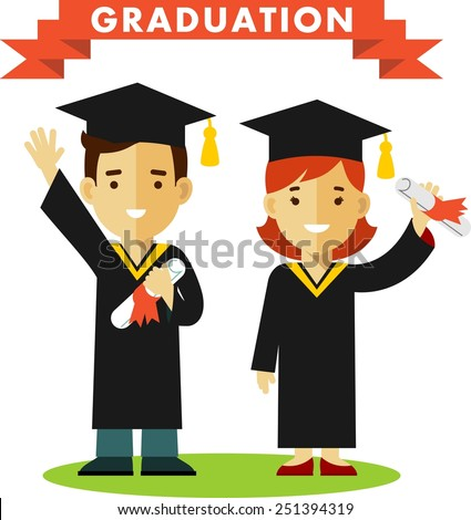 Vector illustration in flat style of young graduates woman and man character - stock vector