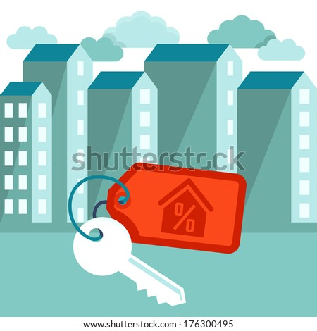 Vector illustration in flat trendy style - mortgage concept - houses icons and keys with label - stock vector