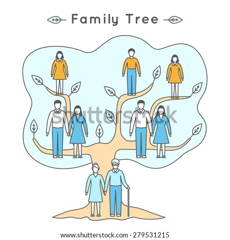 Vector illustration in linear style. Flat icons. Family tree: mother, father, daughter, son, grandfather, grandmother. People of different ages in outline style: girl, boy, woman, man, seniors. - stock vector