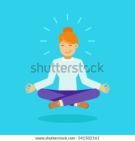 Vector illustration in modern flat style - business woman meditating - time management, stress relief and problem solving concepts