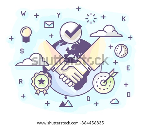 Vector illustration in modern flat style. The conclusion of the agreement, securing the deal with a handshake. - stock vector