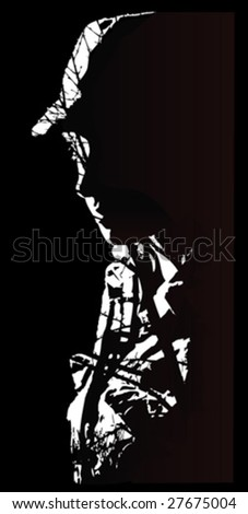 Vector illustration in Rusty Silhouette - stock vector