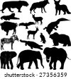 Vector illustration in silhouette of various wild animals - stock vector