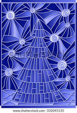 Vector illustration in stained glass style image of a Christmas tree against the starry sky