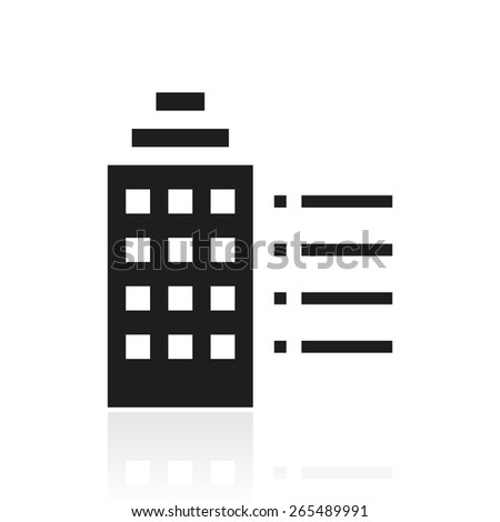 Vector illustration includes a single, black, Building icon on a white background. - stock vector