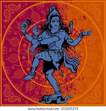 Vector illustration - Indian god Shiva - stock vector