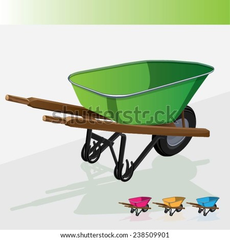 Vector illustration industrial wheelbarrow . Tool for manual movement of construction and household items. - stock vector