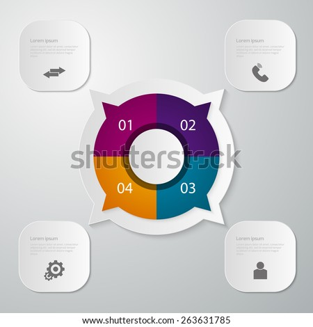 Vector illustration infographics circle with four quadrants . Rectangles with rounded corners - stock vector