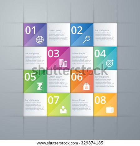 Vector illustration infographics eight options. - stock vector