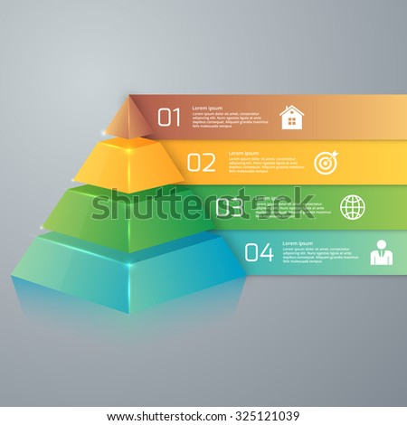 Vector illustration infographics four options pyramid. - stock vector