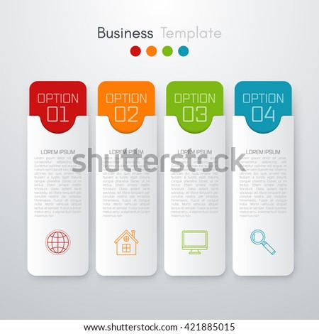 Vector illustration infographics four options. Template for brochure, business, web design - stock vector