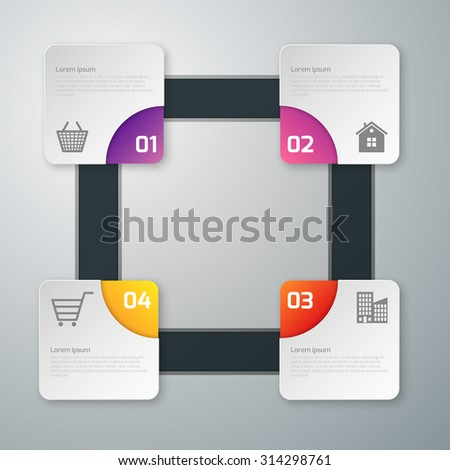 Vector illustration, infographics, four paper squares with rounded corners. - stock vector