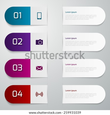 Vector illustration infographics four paper strips - stock vector