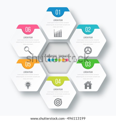 Vector illustration infographics 6 options. Infographics for workflow layout, banner, diagram.Beautiful infographics for web design