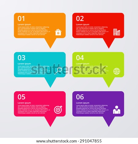 vector illustration infographics six options - stock vector