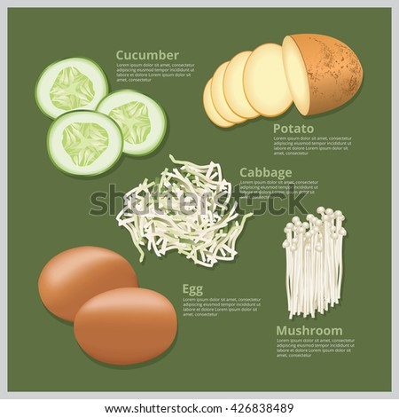 Vector Illustration Ingredient Food, Raw Food, Material Food - stock vector