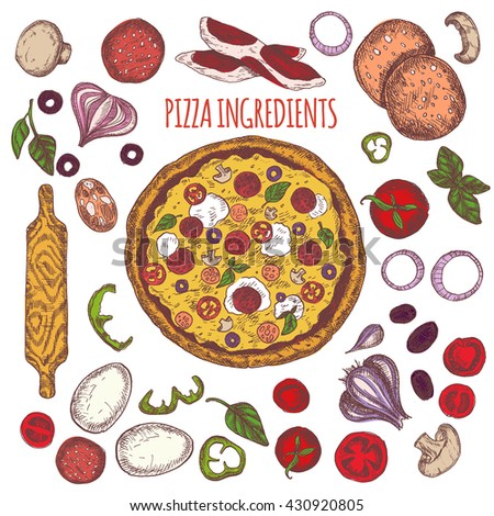 Vector illustration ink colored hand drawn Italian tasty pizza ingredients elements set: tomato basil mushroom, onion pepper cheese , olives and eggs, salami, bacon. Isolated on white background. - stock vector