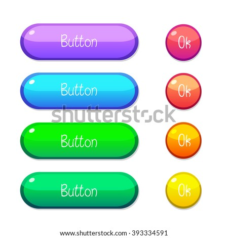 Vector illustration interface buttons set for games or apps. Isolated on white background. - stock vector