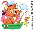 vector illustration - isolated little cartoon fox in the boat on white background - stock vector