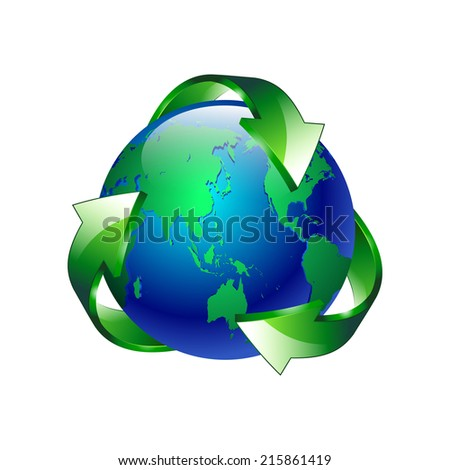 vector illustration Isolated of a clean green blue planet recycle