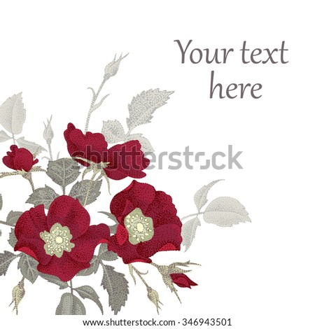Vector illustration isolated on a white background bouquet of flowers. The original design for creating greeting cards, congratulations and invitations with space for text.