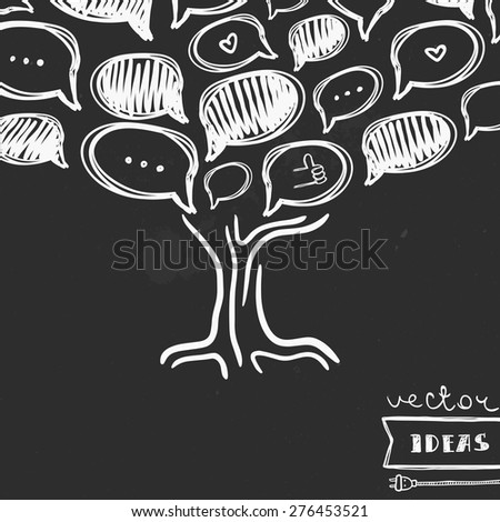 Vector illustration isolated on black, social media, brainstorm and communication concept - stock vector