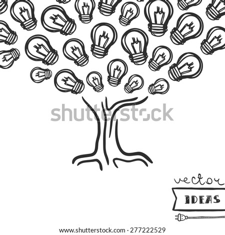 Vector illustration isolated on white, ideas growth concept, hand-drawn light bulb tree