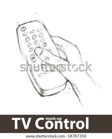 Vector illustration. Isolated remote control with a hand - stock vector