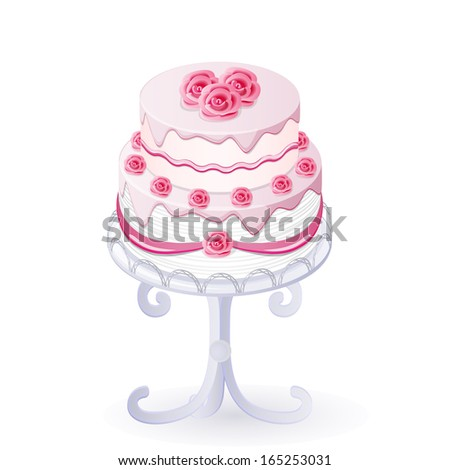 vector illustration isolated wedding cake with roses - eps10 - stock vector