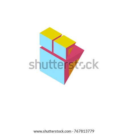 Vector illustration isometric abstract colorful block for logo and icon
