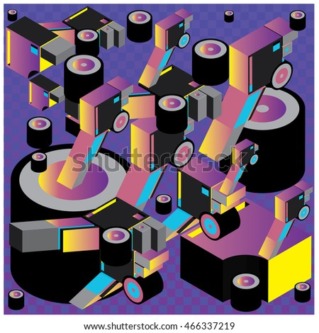 Vector illustration isometric block and cylinder. Material design template and background for poster and publication