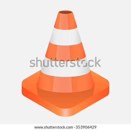 Vector illustration isometric of traffic cone - stock vector