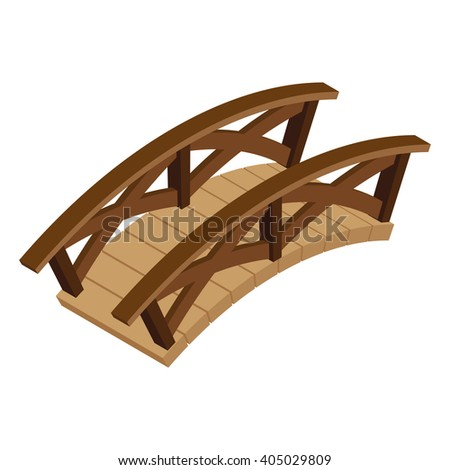 Vector illustration. Isometric wooden bridge on a white background.