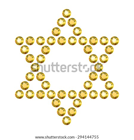 Vector Illustration: Jewish religious symbol 6-corners David Star made of golden diamonds isolated on white background - stock vector