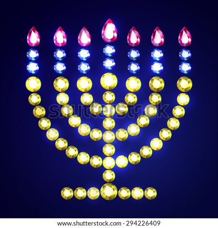Vector Illustration: Jewish religious symbol menorah with alight candles made of golden diamonds isolated on blue background - stock vector