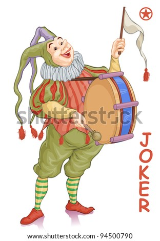 Vector illustration, joker harlequin with drum, card concept, white background. - stock vector
